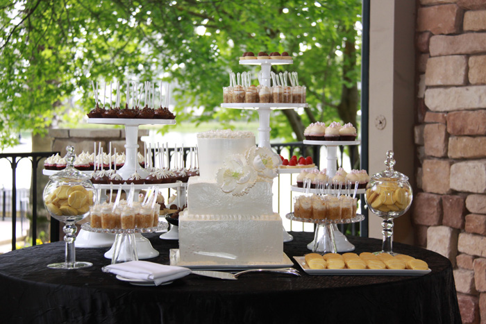 Wedding Cake And Ortment Dessert Table