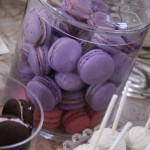 Tinted French Macaroons, White Chocoloate Covered Brownie Pops
