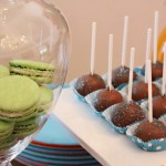 Tinted French Macaroons & Chocolate Brownie Pops